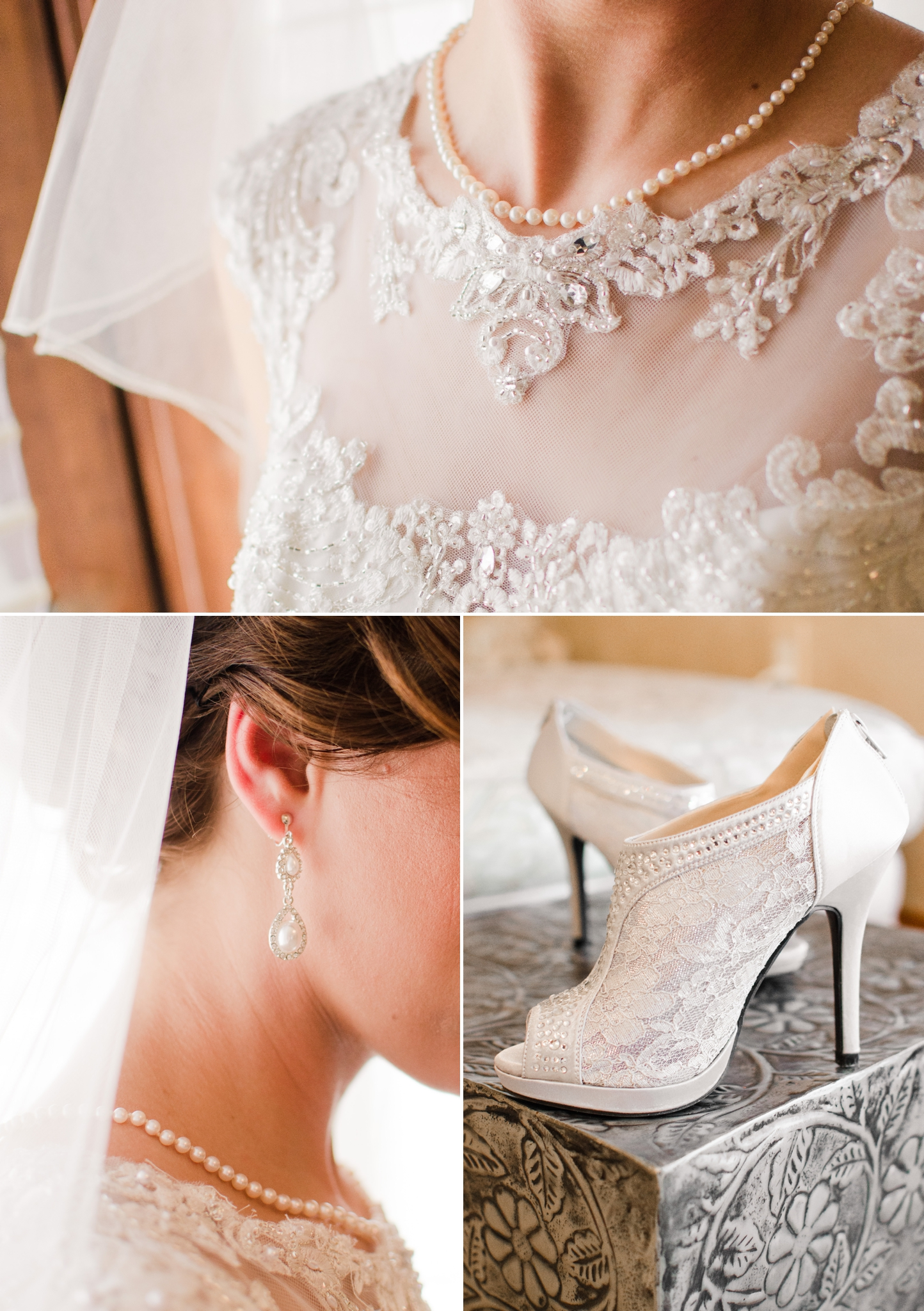 cielo at castle pines bride getting ready. shoes, veil, earrings and lace wedding dress.